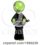Green Clergy Man Serving Or Presenting Noodles