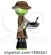 Green Detective Man Holding Noodles Offering To Viewer