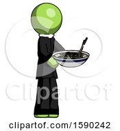 Green Clergy Man Holding Noodles Offering To Viewer