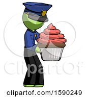Green Police Man Holding Large Cupcake Ready To Eat Or Serve