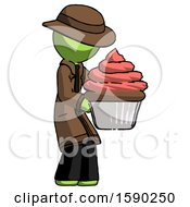 Green Detective Man Holding Large Cupcake Ready To Eat Or Serve