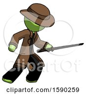 Green Detective Man Stabbing With Ninja Sword Katana