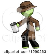 Green Detective Man Begger Holding Can Begging Or Asking For Charity Facing Left