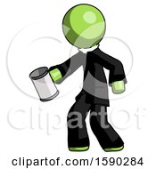 Green Clergy Man Begger Holding Can Begging Or Asking For Charity Facing Left