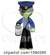 Green Police Man Begger Holding Can Begging Or Asking For Charity