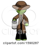 Green Detective Man Begger Holding Can Begging Or Asking For Charity