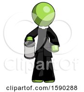 Green Clergy Man Begger Holding Can Begging Or Asking For Charity