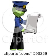 Green Police Man Holding Blueprints Or Scroll