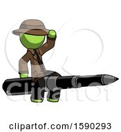 Green Detective Man Riding A Pen Like A Giant Rocket