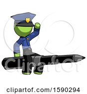 Green Police Man Riding A Pen Like A Giant Rocket