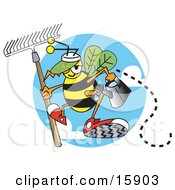 Worker Bee Carrying A Rake And Watering Can And Ready To Work In A Garden Clipart Illustration