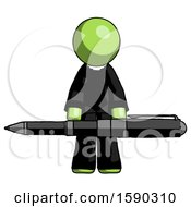 Green Clergy Man Weightlifting A Giant Pen