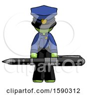 Green Police Man Weightlifting A Giant Pen