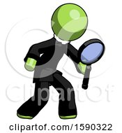Green Clergy Man Inspecting With Large Magnifying Glass Right