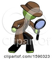 Green Detective Man Inspecting With Large Magnifying Glass Right