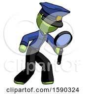 Green Police Man Inspecting With Large Magnifying Glass Right