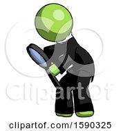 Green Clergy Man Inspecting With Large Magnifying Glass Left