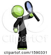 Green Clergy Man Inspecting With Large Magnifying Glass Facing Up