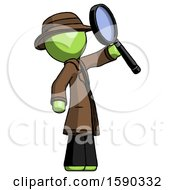 Green Detective Man Inspecting With Large Magnifying Glass Facing Up