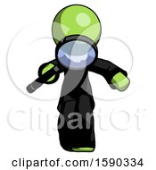 Green Clergy Man Looking Down Through Magnifying Glass