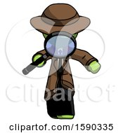 Green Detective Man Looking Down Through Magnifying Glass