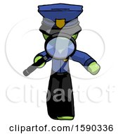 Green Police Man Looking Down Through Magnifying Glass