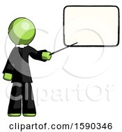 Green Clergy Man Giving Presentation In Front Of Dry Erase Board