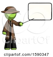 Green Detective Man Giving Presentation In Front Of Dry Erase Board