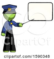 Green Police Man Giving Presentation In Front Of Dry Erase Board