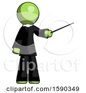 Green Clergy Man Teacher Or Conductor With Stick Or Baton Directing