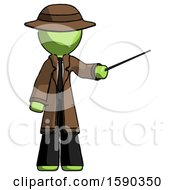 Green Detective Man Teacher Or Conductor With Stick Or Baton Directing