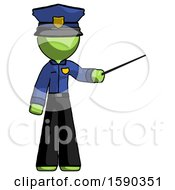 Green Police Man Teacher Or Conductor With Stick Or Baton Directing