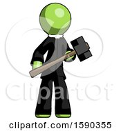 Green Clergy Man With Sledgehammer Standing Ready To Work Or Defend