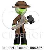 Green Detective Man With Sledgehammer Standing Ready To Work Or Defend