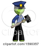 Green Police Man With Sledgehammer Standing Ready To Work Or Defend