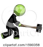 Green Clergy Man Hitting With Sledgehammer Or Smashing Something