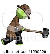 Green Detective Man Hitting With Sledgehammer Or Smashing Something