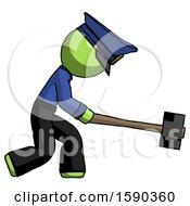 Green Police Man Hitting With Sledgehammer Or Smashing Something