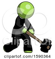 Green Clergy Man Hitting With Sledgehammer Or Smashing Something At Angle