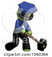 Green Police Man Hitting With Sledgehammer Or Smashing Something At Angle
