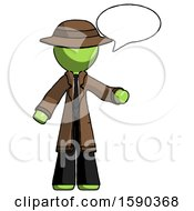 Green Detective Man With Word Bubble Talking Chat Icon