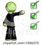 Green Clergy Man Standing By List Of Checkmarks