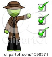 Green Detective Man Standing By List Of Checkmarks
