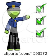 Green Police Man Standing By List Of Checkmarks