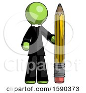 Green Clergy Man With Large Pencil Standing Ready To Write