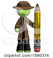 Green Detective Man With Large Pencil Standing Ready To Write