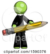 Green Clergy Man Writer Or Blogger Holding Large Pencil