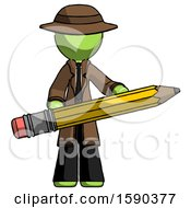Green Detective Man Writer Or Blogger Holding Large Pencil