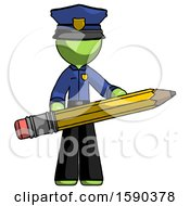 Green Police Man Writer Or Blogger Holding Large Pencil