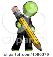Green Clergy Man Writing With Large Pencil